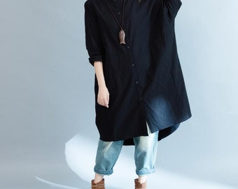Women Loose long sleeved shirt Asymmetric coat Black Shirt