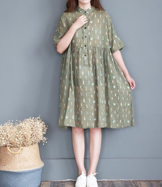 green Oversized dress summer sundress