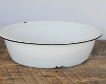Vintage Oblong Enamelware Tub or Basin White with Black Trim