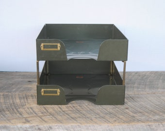 Vintage Weis Desktop Letter Paper Organizer Stackable Tray Green Metal