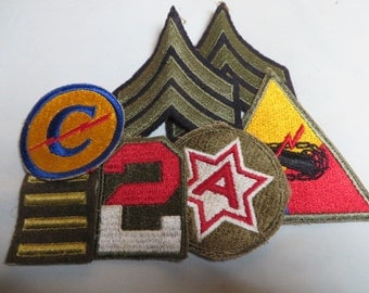 US Army WW2 Rank and Patch lot Amored, Overseas Bars 6th Army, 2nd Army, Constabulary Patches