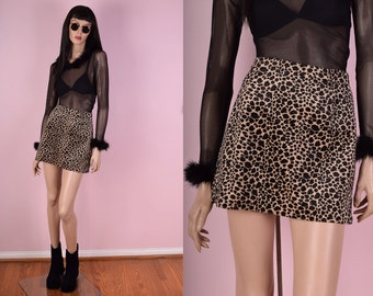 90s Fuzzy Leopard Print Mini Skirt/ 25 Waist/ 1990s/ Club/ Rave