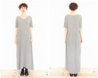 90s Beige Black Grid Print Grunge Dress / T-shirt Maxi Dress