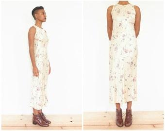 90s Muted Floral Satin Bias Cut Dress