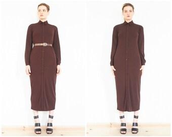 90s Minimal Brown Long Sleeve Shirt Dress