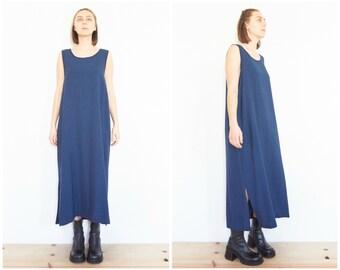 90s Sleeveless Blue Gingham Maxi Dress / Sack Dress