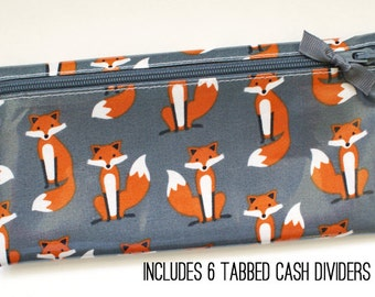 Foxes cash budgeting wallet in laminated cotton fabric with 6 category dividers