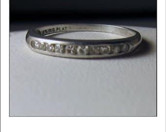 Antique Platinum Art Deco Diamond Wedding Band - 8-22-36