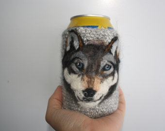 Wolf can cozy needle felted