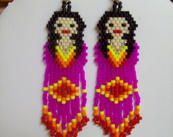 Native American Style Beaded Hot Pink Indian Doll Earrings Southwestern, Boho, Hippie Brick Stitch, Peyote, Gypsy,  Great Gift