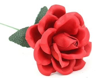 Red leather flower leather rose leather anniversary gift 3rd wedding anniversary traditional third anniversary gift for couple 9th wedding