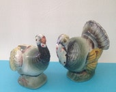 Vintage Thanksgiving Turkey Salt and Pepper Shakers, Shabby Cottage Decor, Thanksgiving Holiday Table Decor Centerpiece