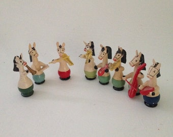 Vintage Erzgebirge Miniature Wooden Horse Band, Animal Band, Christmas Putz Figurines, Tiny Wood Horse Musicians