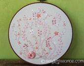 Hand Embroidery Hoop Art Pink Flowers in Eight Inch Hoop