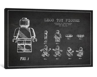 iCanvas Lego Dark Patent Blueprint Gallery Wrapped Canvas Art Print by Aged Pixel