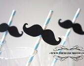 Set of 10 BABY BLUE Striped Mustache Straw Photo Props - Mustaches on Baby Blue Striped Paper Straws