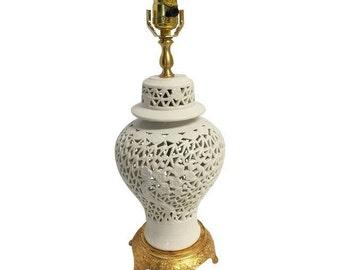 Blanc De Chine Ginger Jar Lamp On Gilt Base
