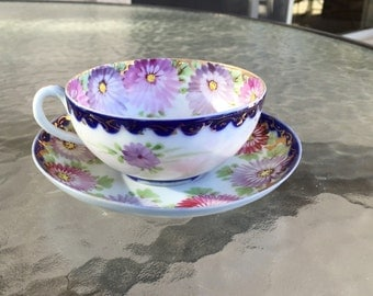 Vintage cup and saucer hand-painted mums daisies thin antique bone china porcelain LOVELY