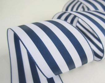 5.5 yards / 5 metres large thick navy and white stripey ribbon - 2 inches / 50mm wide