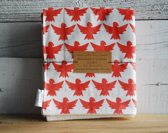 Organic Baby Blanket - Red Desert Bird,  Southwest, Desert, Cactus, Southwestern Decor