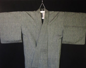 Vintage '50s Women's Lightly Textured Silk Japanese Kimono - Subdued Green w/ Muted Multicolor Pin-striping.