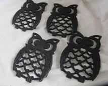 Cast iron owl coasters (set of 4) / Black owl trivet set
