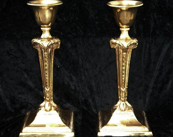 Antique Brass Candlesticks - Georgian Candle Holders - Large Brass Rams Goats