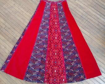 1960s 1970s Boho Patchwork Velvet Maxi Skirt Carpet Rug Pattern