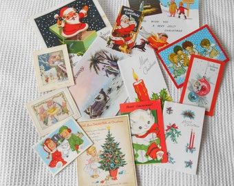Christmas Cards Vintage 1950 60s 70s Christmas Decoration Assemblage Scrapbook Art