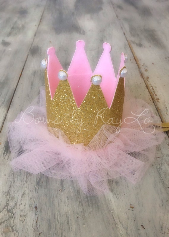 Pink and gold crown, gold and pink crown, first birthday crown, party hat, gold crown, pink crown, pink and gold birthday crown, birthday