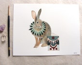 ORIGINAL // Critters and Cards: Rabbit // Watercolor and Pen