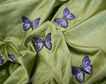 JAB Soleil Blue- Papillon Motifs- pcw 53inchx45inch- Embroidered Butterfly-ref-we126-030-Free Shipping