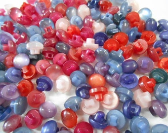 Lot of 100 Buttons- Pearly buttons- Shank - 10mm -Dome buttons- Assorted -Blues- Purple- Rose- Red Orange- Dark Purple-Cerise