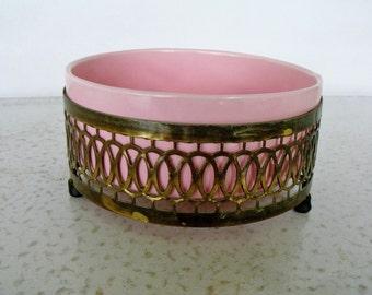 Round Vanity Dish Pink Ceramic with Gold Lattice Stand Jewelry Trinket Perfumes
