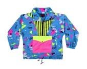 Intense 80s Neon Extravaganza Abstract Waterproof Windbreaker - M