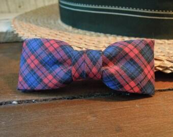 Vintage Child's Plaid Slim Bow Tie / Stripes / Christmas Tie / Vintage Bowties / 1960's / Clip on Bow Tie of Boys / Scottish Plaid