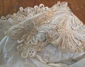 Antique Italian Lace Applique Flowers Floral Ecru Ivory Beige Camisole Victorian Edwardian