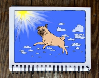 Flying Pug Doodle Coloring Page