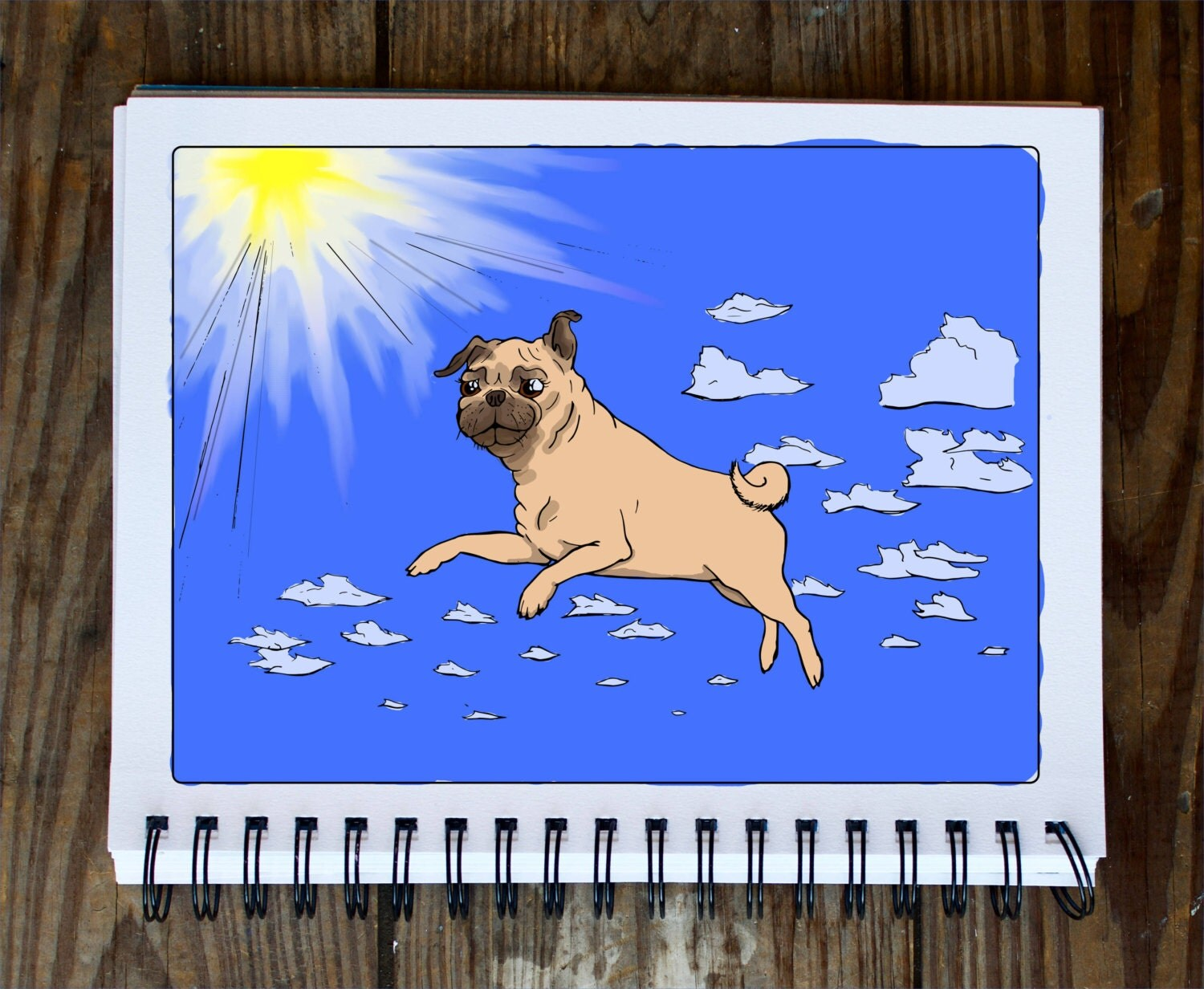 Flying Pug Doodle Coloring Page Instant PDF Download Adult