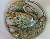Vintage Pewter Swan Pendant Brooch Hallmarked H 1940s Estate Jewelry
