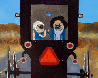 "Pug Art Print, Dog Art, ""Road Rage"",8x10,Signed Original,horse,buggy"