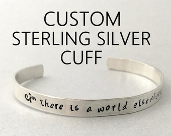 NEW Custom STERLING SILVER Bracelet - Personalized with Your Favorite Quote or Message - Hand Stamped Brass Cuff