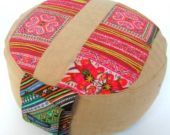 Beautiful Embroidered Unique Cushion - Round Cotton Zafu Pillow Filled with Organic Spelt Grain from Germany