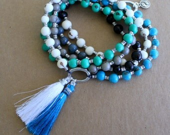 Açaí Seeds Long Boho Necklace -  Mala - hippie, yoga, blue, green, black, white, sustainable jewelry