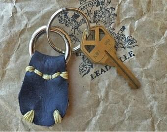 Handmade Black Leather Key Fob