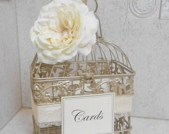 15% OFF SALE Small Champagne Gold Wedding Birdcage Card Holder / Wedding Card Box / Wedding Decor / Wedding Birdcage