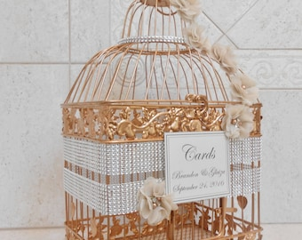 Large Bling Rose Gold Wedding Birdcage Card Holder / Wedding Card Box / Wedding Card Holder / Bling Wedding Decor / Custom Card Box