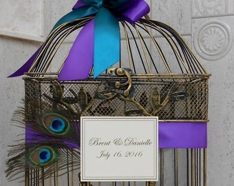 Peacock Wedding Birdcage Card Holder / Wedding Card Box / Birdcage Card Holder / Peacock Wedding Decorations / Wedding Decoration
