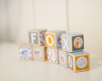 Fox nursery decor. Wood baby blocks. Retro style. Vintage style. Orange, gray, blue. Baby shower decor. Woodland theme decor