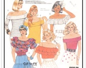 McCALL'S Pattern 3145 - Misses' Pullover Off-the-Shoulder Tops for Knit/Woven Fabrics - Ruffles, Tiers, Carmen Miranda-style - Sz 10-12-14